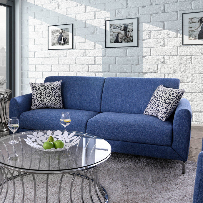 Furniture Of America Lauritz Blue Fabric Finish Sofa