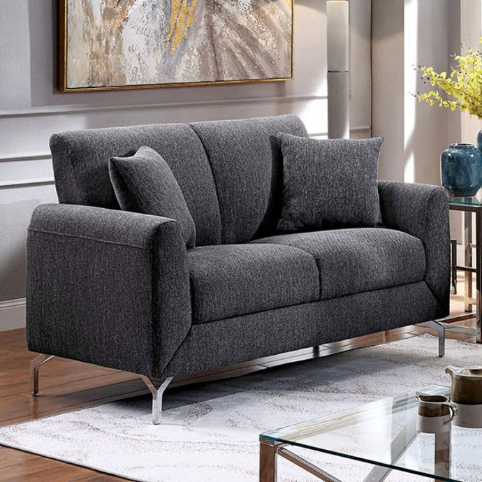 Furniture Of America Lauritz Gray Fabric Finish Loveseat