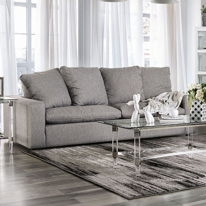 Furniture Of America Acamar Gray Linen And Wood Finish Sofa