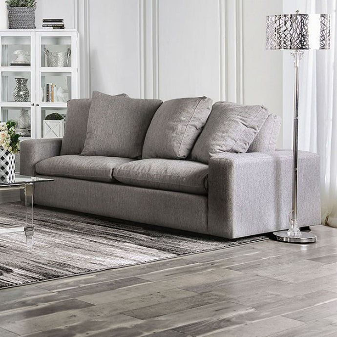 Furniture Of America Acamar Gray Linen And Wood Finish Loveseat