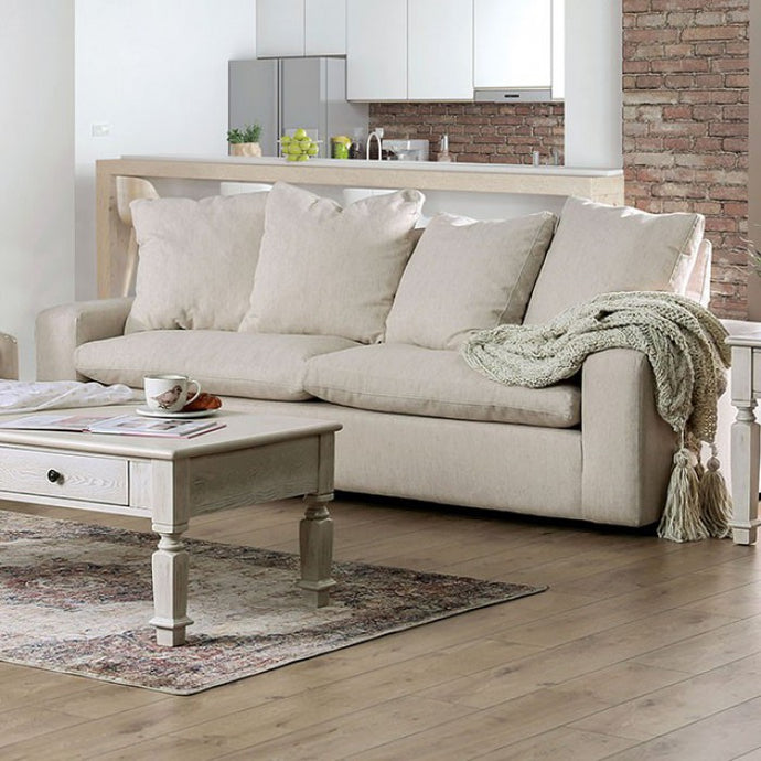 Furniture Of America Acamar Cream Linen And Wood Finish Loveseat