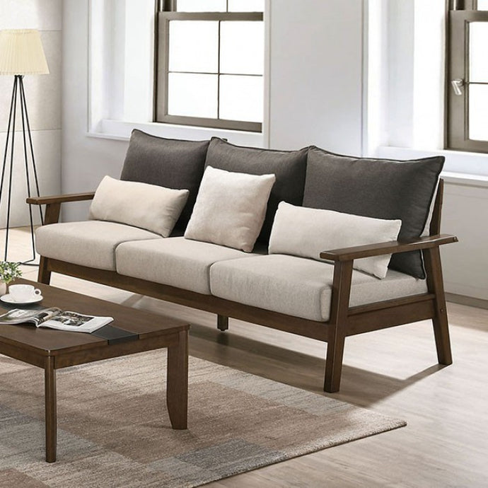 Furniture Of America Louis Walnut And Beige Linen Finish Sofa