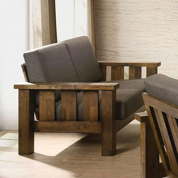 Furniture Of America Laura Oak And Brown Linen Finish Loveseat