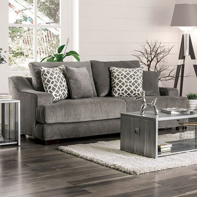 Furniture Of America Adrian Gray Chenille And Wood Finish Sofa