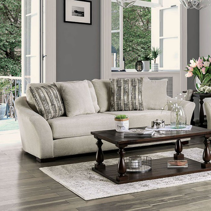Furniture Of America Oacoma Gray Chenille And Wood Finish Sofa