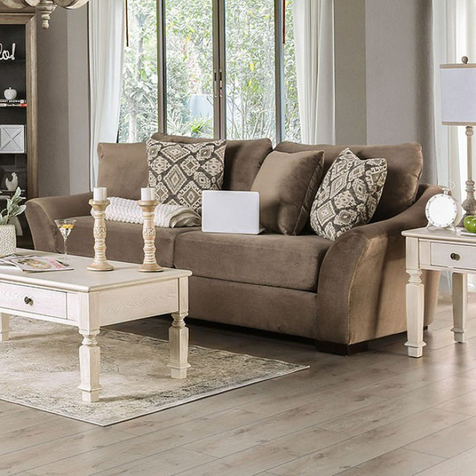 Furniture Of America Oacoma Ivory Chenille And Wood Finish Sofa