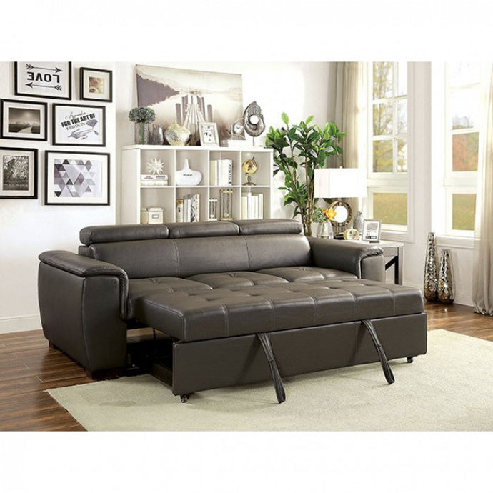 Furniture Of America Holywell Gray Breathable Leatherette Finish Sofa Bed