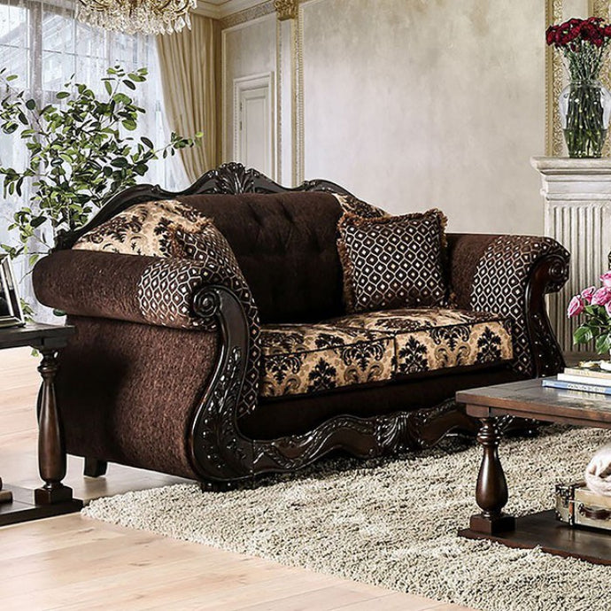 Furniture Of America Ronja Brown Chenille And Wood Finish Loveseat