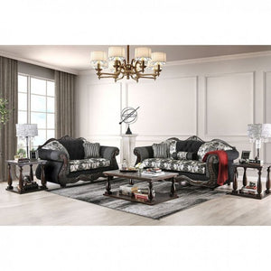 Furniture Of America Ronja Black Chenille And Wood Finish 2 Piece Sofa