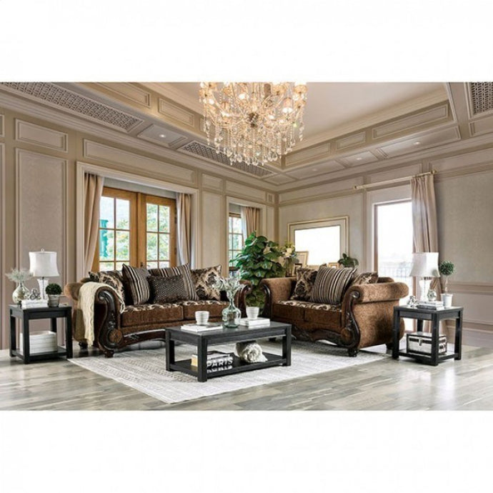 Furniture Of America Tilde Brown And Walnut Chenille Finish 2 Piece Sofa Set