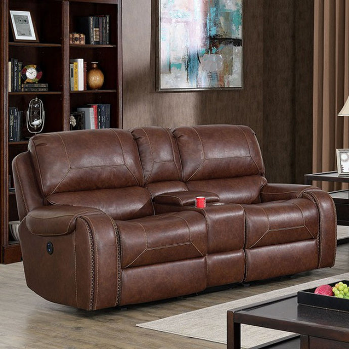 Furniture Of America Walter Brown Leatherette Finish Power Recliner Loveseat