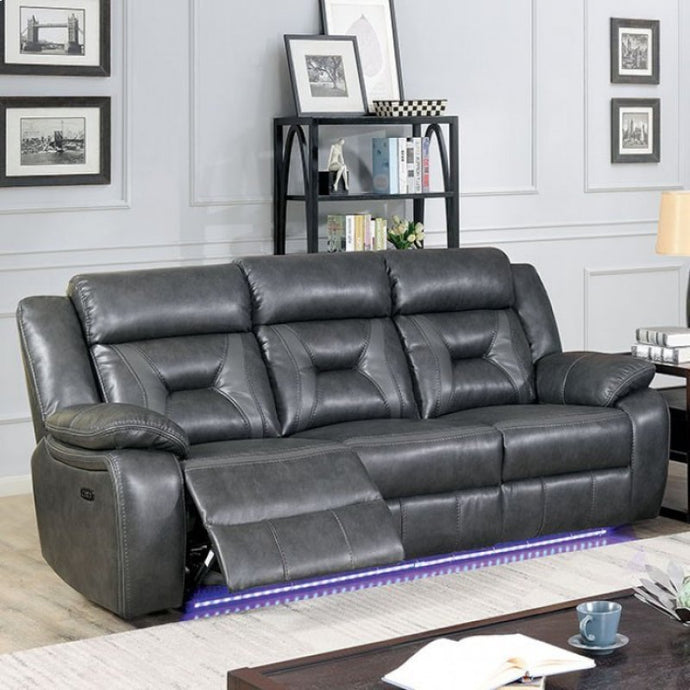 Furniture Of America Marnie Gray Leatherette Finish Power Recliner Sofa