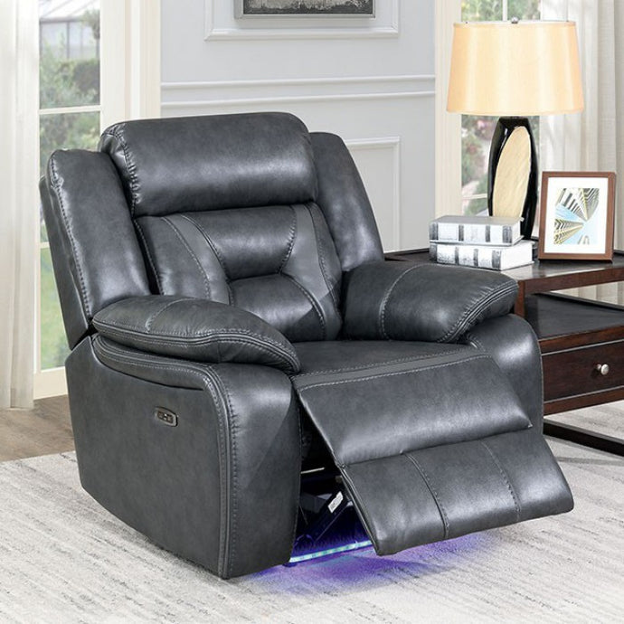 Furniture Of America Marnie Gray Leatherette Finish Power Recliner Chair