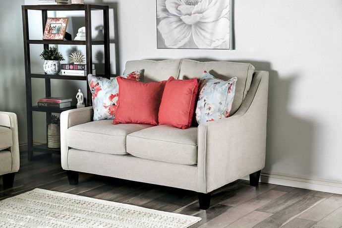 Furniture Of America Nadene Ivory Chenille And Linen Finish Loveseat