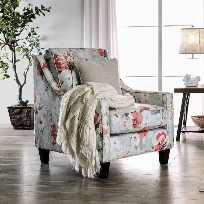 Furniture Of America Nadene Ivory Chenille And Linen Finish Chair