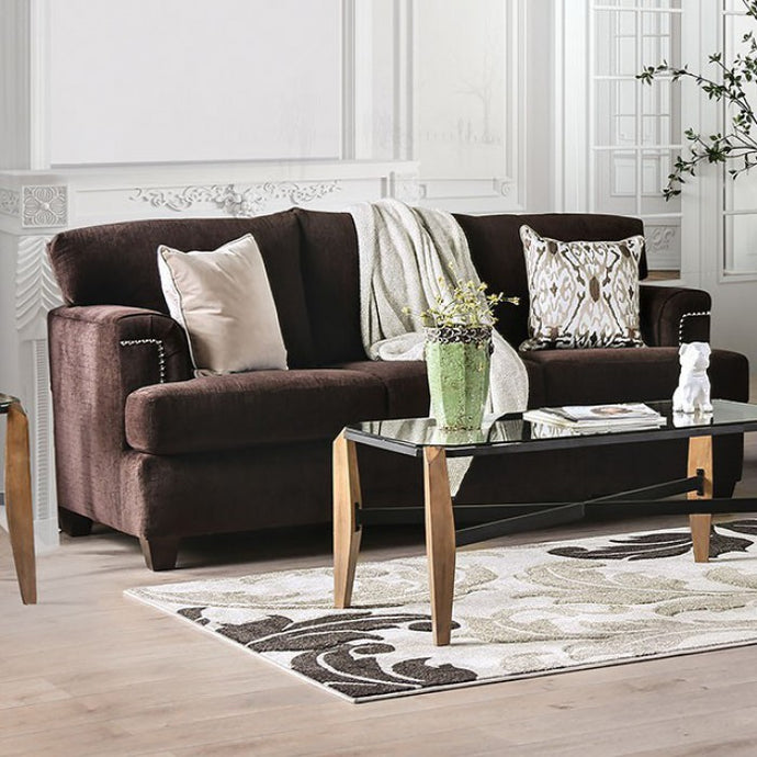 Furniture Of America Brynlee Chocolate Chenille Finish Sofa