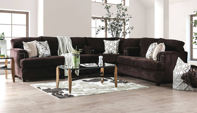 Furniture Of America Brynlee Chocolate Chenille Finish Sectional Sofa