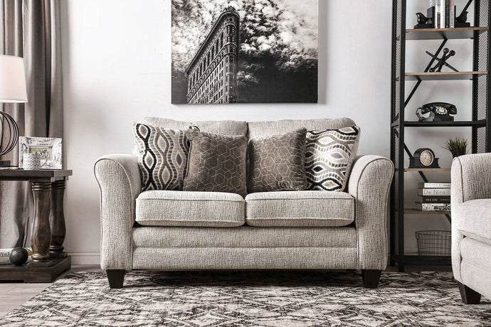 Furniture Of America Aleah Gray Chenille Finish Loveseat