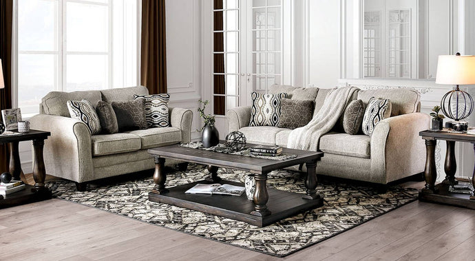 Furniture Of America Aleah Gray Chenille Finish 2 Piece Sofa Set