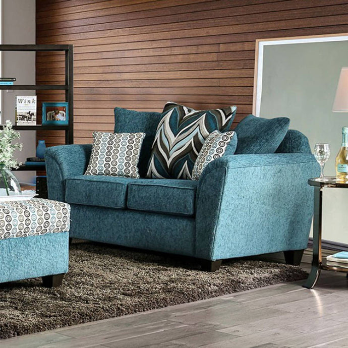 Furniture Of America River Turquoise Chenille Finish Loveseat