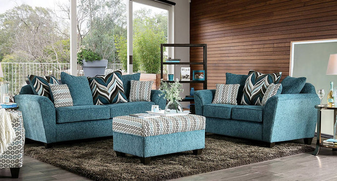 Furniture Of America River Turquoise Chenille Finish 2 Piece Sofa Set