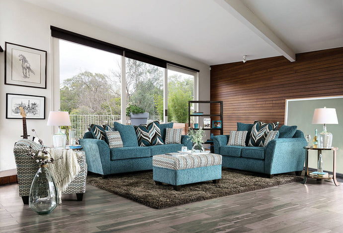 Furniture Of America River Turquoise Chenille Finish 3 Piece Sofa Set