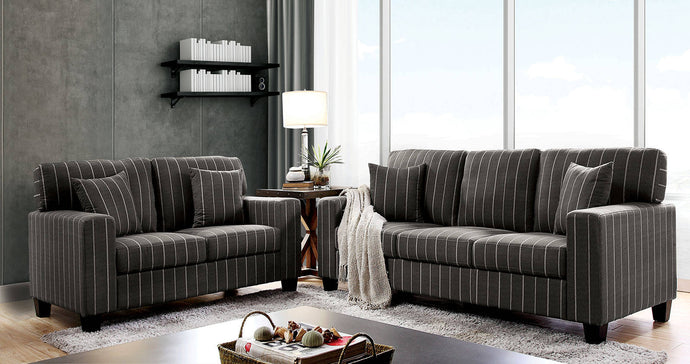 Furniture Of America Pingree Dark Gray Fabric Finish 2 Piece Sofa Set