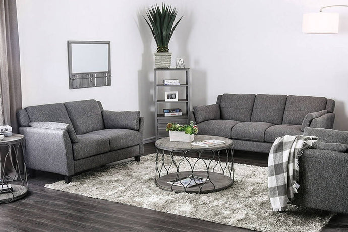 Furniture Of America Yazmin Gray Linen Finish 2 Piece Sofa Set
