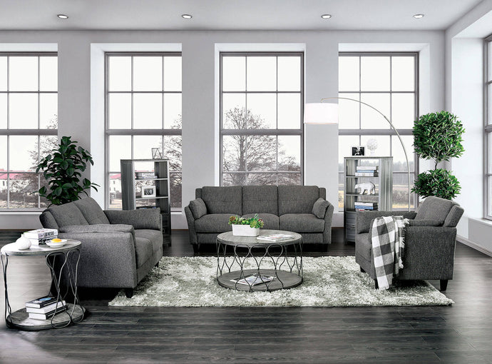 Furniture Of America Yazmin Gray Linen Finish 3 Piece Sofa Set