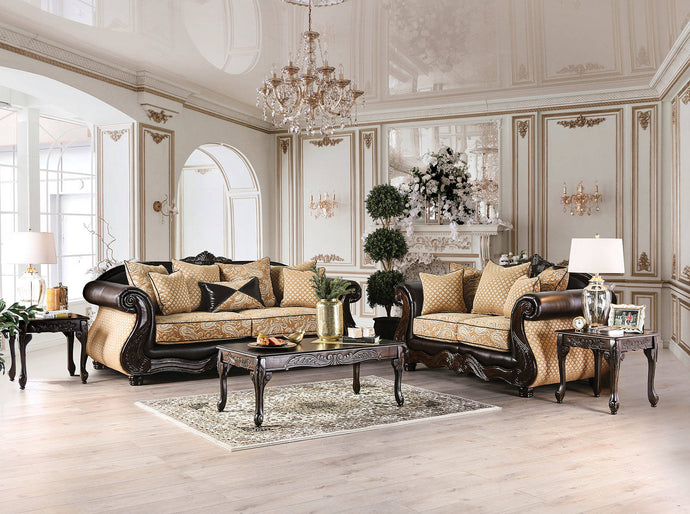 Furniture Of America Aislynn Gold And Espresso Chenille Finish 2 Piece Sofa Set