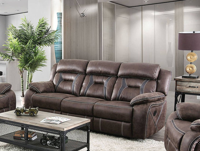 Furniture Of America Flint Brown Fabirc Finish Recliner Sofa