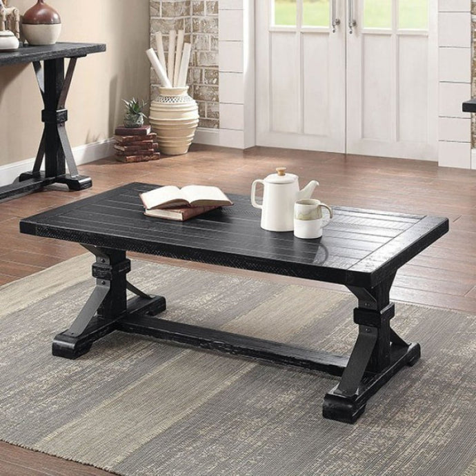 Furniture Of America Enderlin Black Wood Finish Coffee Table
