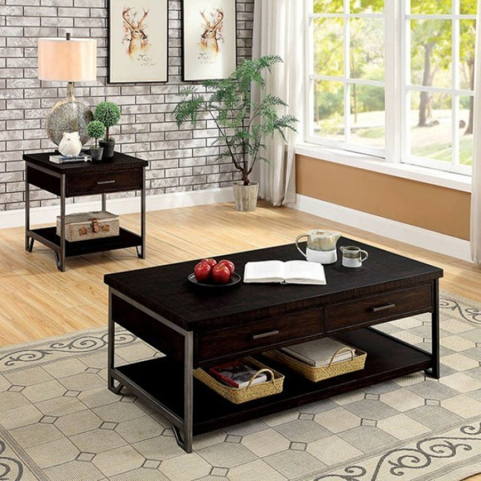 Furniture Of America Wasta Dark Oak Wood Finish 3 Piece Coffee Table Set