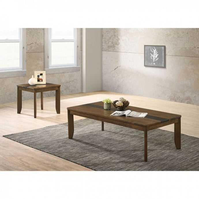 Furniture Of America Jacob Walnut Wood Finish 3 Piece Coffee Table Set