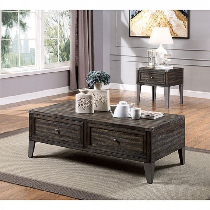 Furniture Of America Piedmont Dark Oak Wood Finish 3 Piece Coffee Table Set