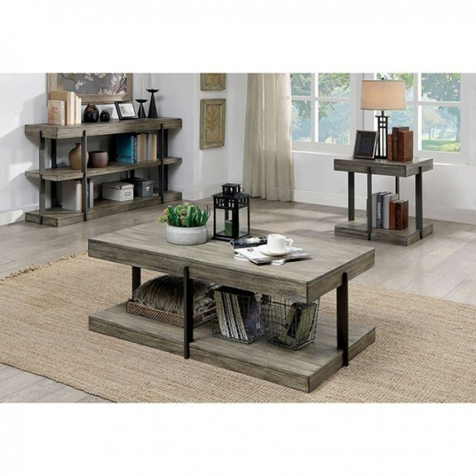 Furniture Of America Tual Gray Wood Finish 3 Piece Coffee Table Set