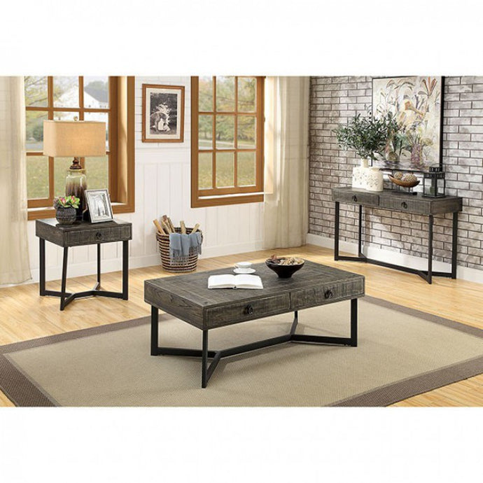 Furniture Of America Veblen Oak Wood Finish 3 Piece Coffee Table Set