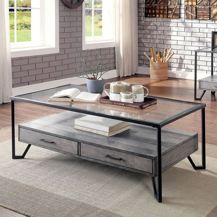 Furniture Of America Ponderay Black Glass Finish Coffee Table