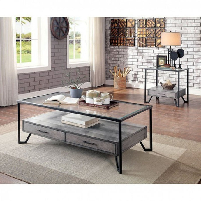 Furniture Of America Ponderay Black Glass Finish 3 Piece Coffee Table Set
