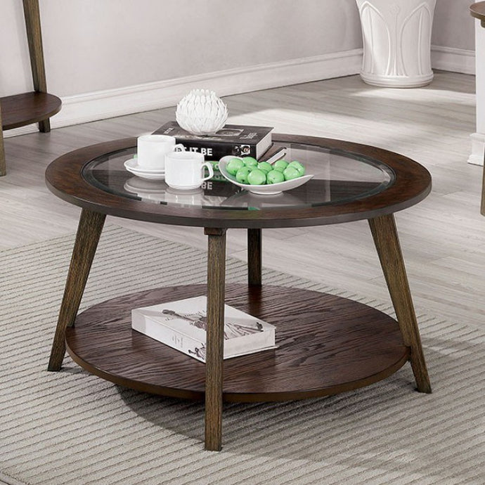 Furniture Of America Uriel Dark Oak Wood Finish Coffee Table