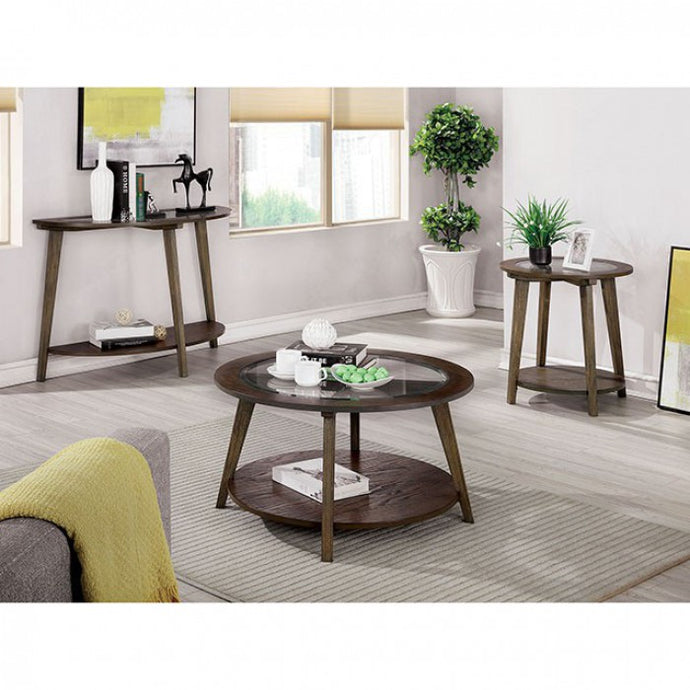 Furniture Of America Uriel Dark Oak Wood Finish 3 Piece Coffee Table Set