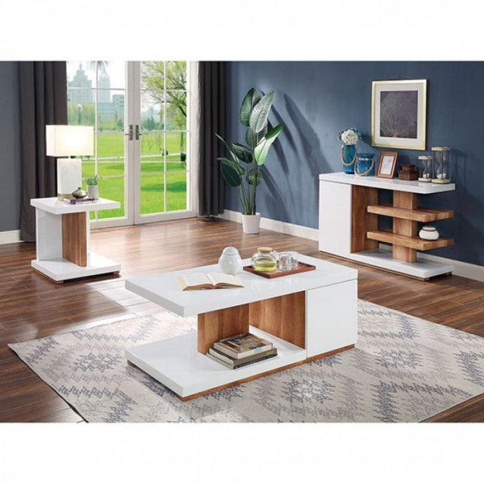 Furniture Of America Moa Natural Wood Finish 3 Piece Coffee Table Set