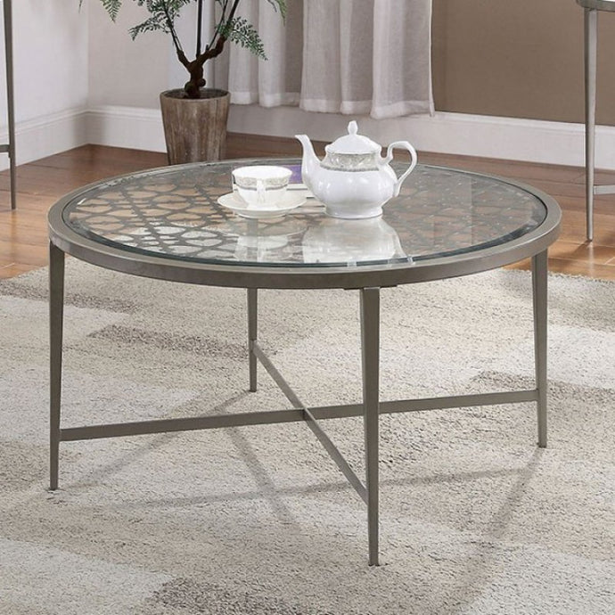 Furniture Of America Freja White Glass Finish Coffee Table