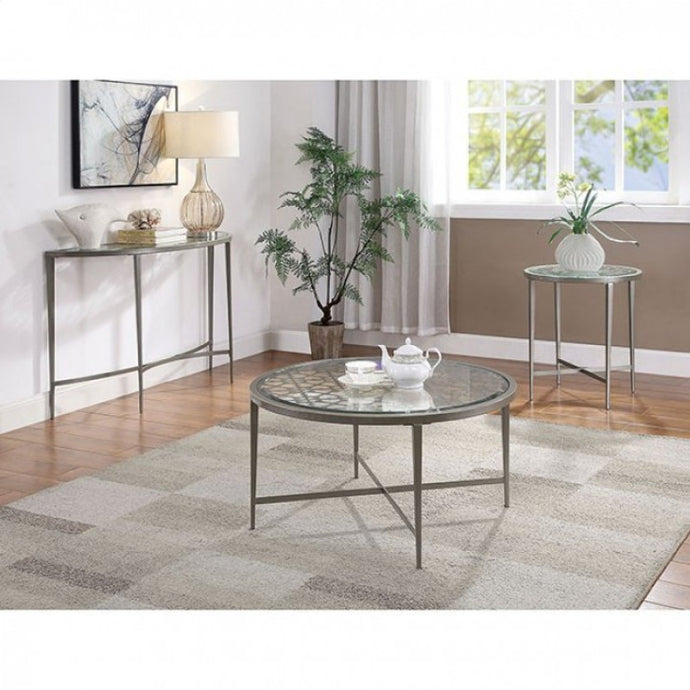 Furniture Of America Freja White Glass Finish 3 Piece Coffee Table Set