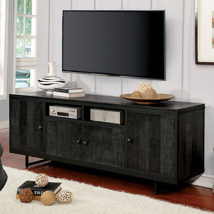 Furniture Of America Regua Black Wood And Metal Finish TV Stand