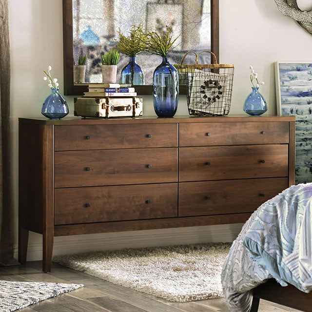 Furniture Of America Willamette I Espresso Wood Finish 6 Drawers Dresser With Mirror