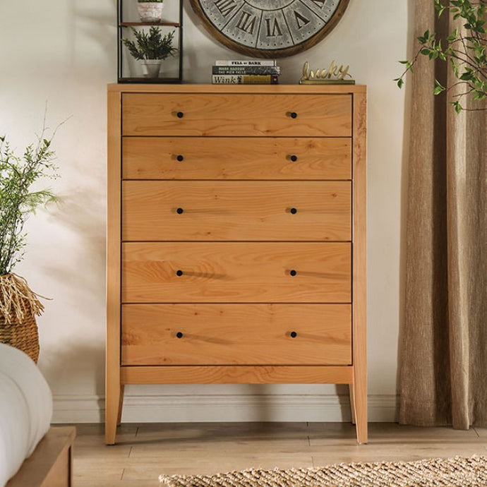 Furniture Of America Willamette II Light Oak Wood Finish 5 Drawers Chest