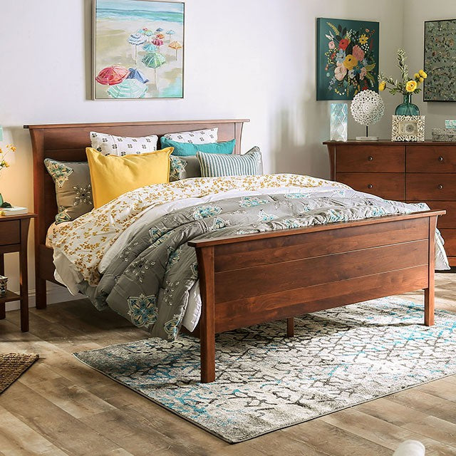 Furniture Of America Keizer Cherry Wood Finish Eastern King Bed