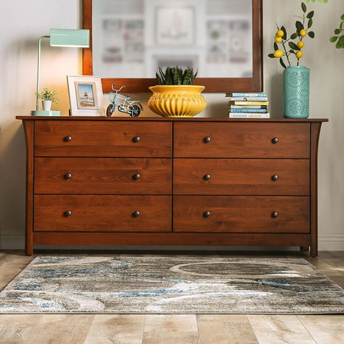 Furniture Of America Keizer Cherry Wood Finish 6 Drawers Dresser With Mirror