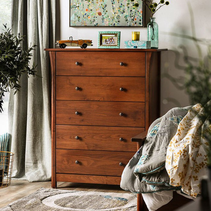 Furniture Of America Keizer Cherry Wood Finish 5 Drawers Chest